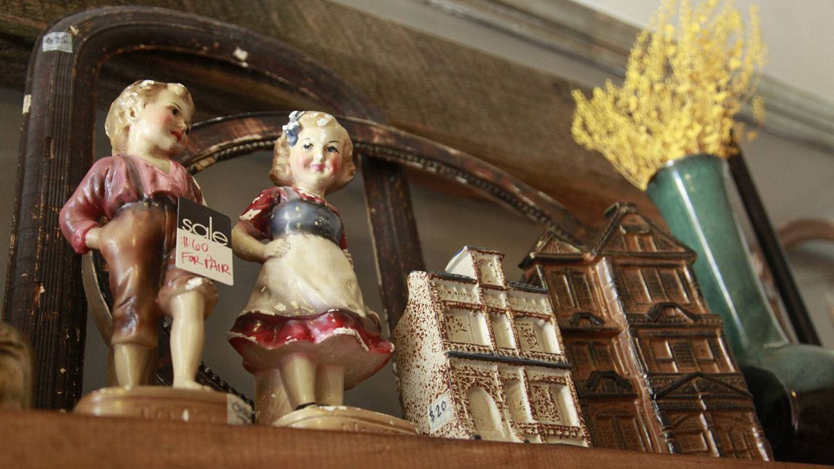 Figurines and other collectibles from the past on display at the Arthur vintage decor shop in Toronto, Ontario