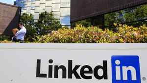 LinkedIn Corp. displays its logo outside headquarters in Mountain View, Calif.
