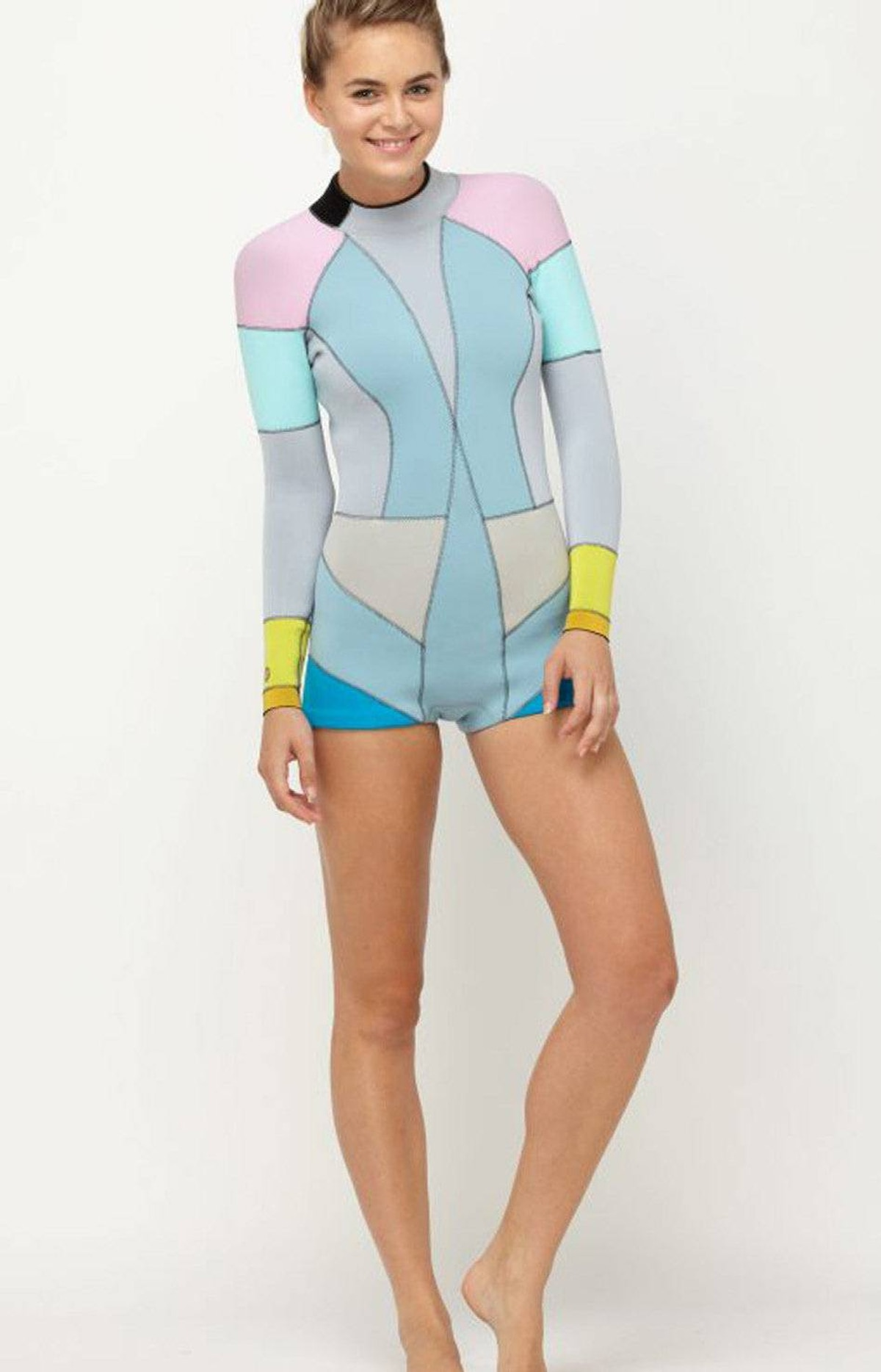 Colourful surfing attire Liven up your beach look in Cynthia Rowley's 2M Springsuit for Roxy. Colourful accents and a tailored design make this long-sleeved wetsuit a fashionable alternative to standard surf attire. Durable 2mm Fiber-Lite Neoprene construction and a zippered back stash pocket add to its functionality. $144.95 (U.S.); roxy.com
