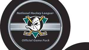 New NHL puck and the new Anaheim Mighty Ducks puck. NHL.com