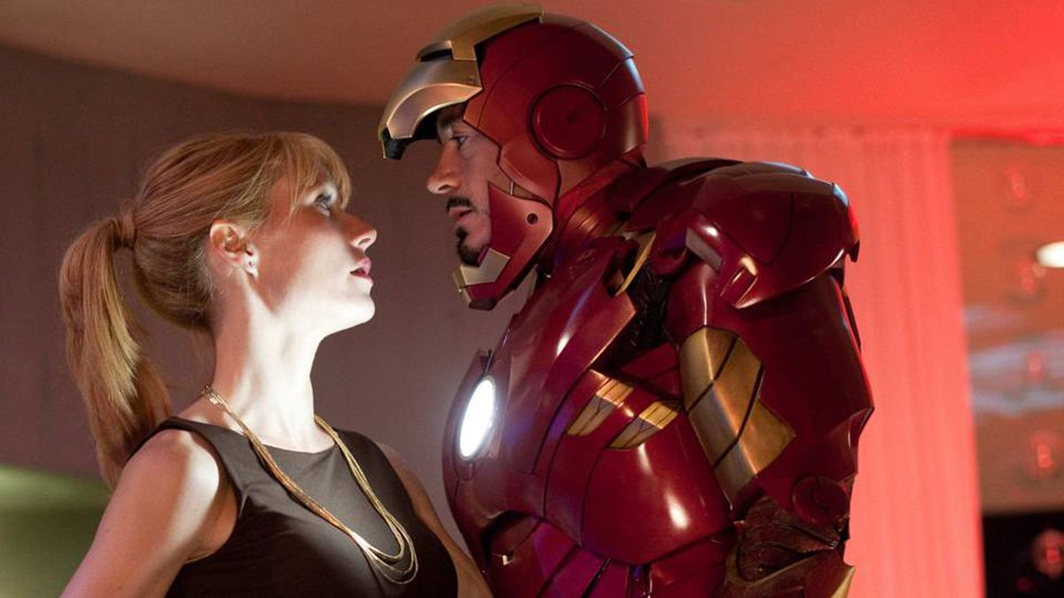 Gwyneth Paltrow and Robert Downey Jr. are shown in Iron Man 2.
