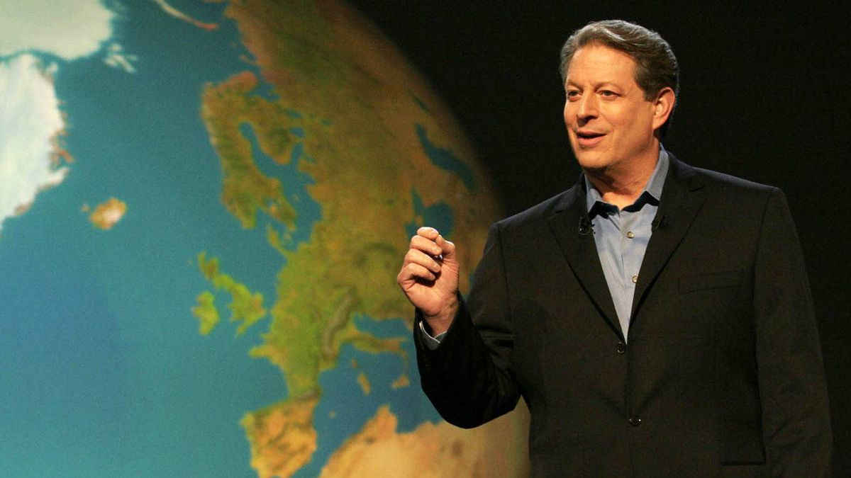 Al Gore delivers a presentation on global climate change, proving that humankind must confront global warming now or face devastating consequences in An Inconvenient Truth.