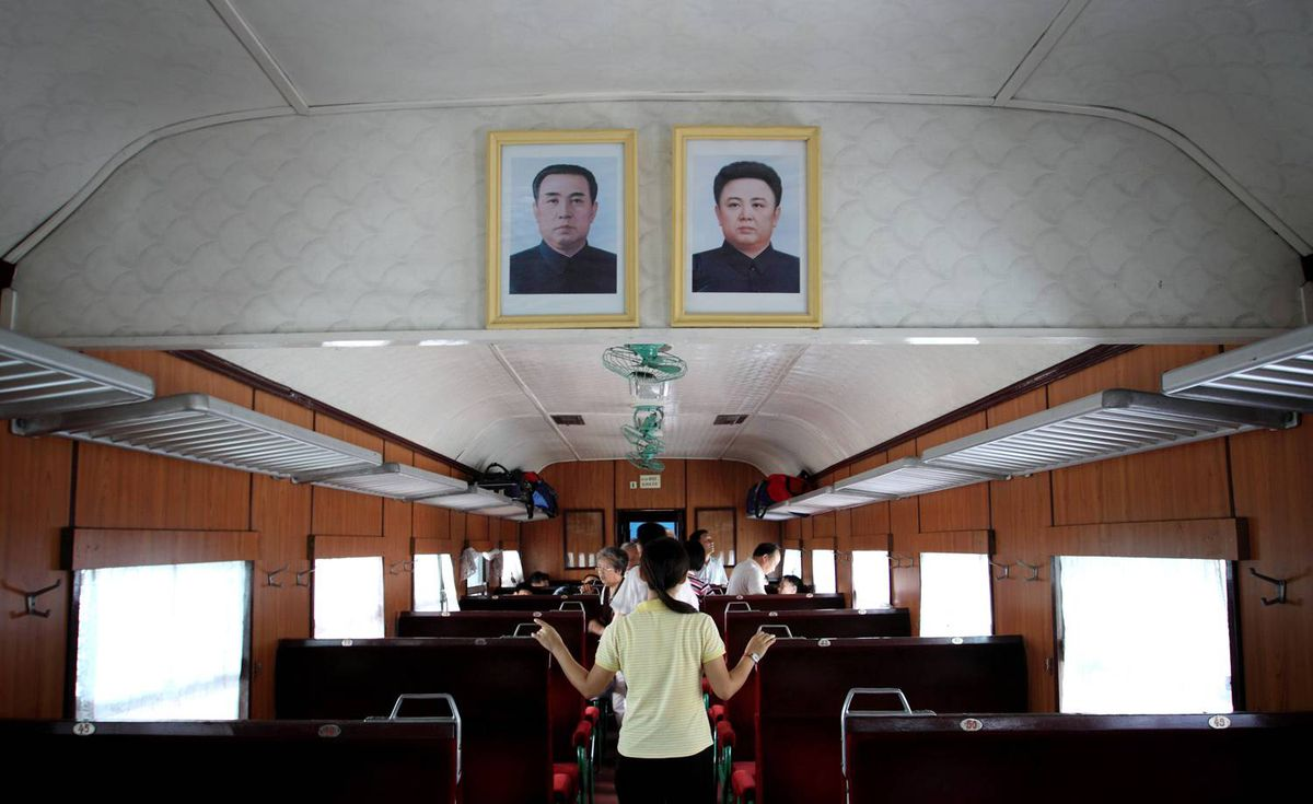 Inside a train carriage of the single daily train that links the town of Sinuiju near the northern Chinese border to the capital Pyongyang.