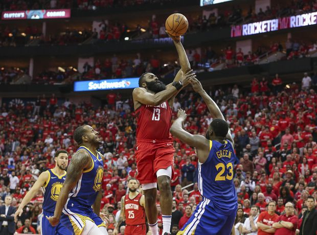 a7f1982f39d Houston Rockets guard James Harden (13) shoots the ball as Golden State  Warriors forward Draymond Green (23) defends during overtime in game three  of the ...