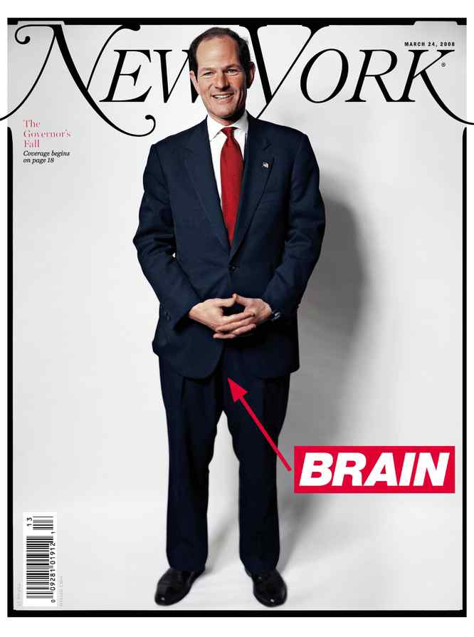 The cover of New York magazine suggests that Eliot Spitzer was thinking with his genitalia.