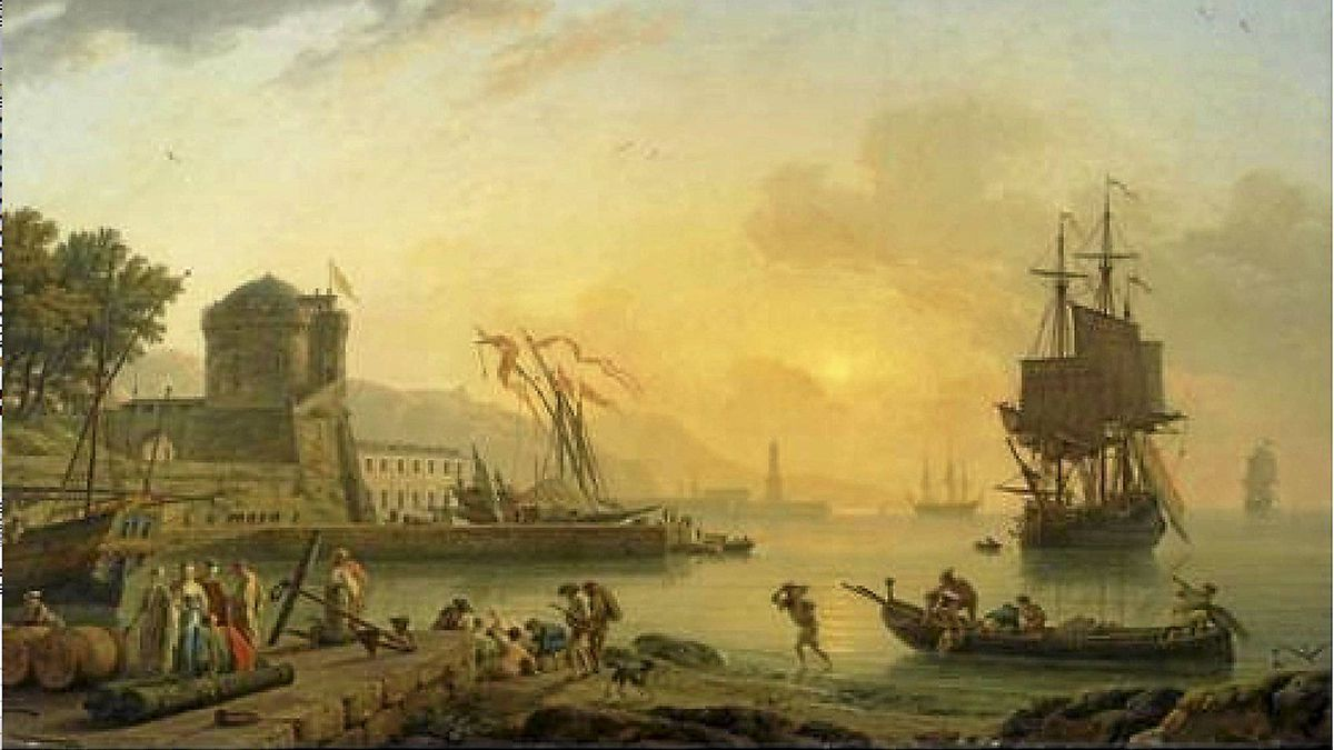 The Property of the Beaverbrook Foundation. Claude-Joseph Vernet Avignon 174 - 1789 Paris. A Grand View of the Sea Shore Enriched With Buildings. Shipping and Figures oil on canvas.