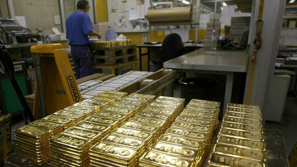 File photo of gold bars on a table awaiting transport at a plant of gold refiner and bar manufacturer Argor-Heraeus SA in the southern Swiss town of Mendrisio.