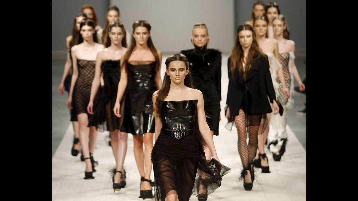 Models present a creation by Ukrainian designer Luvi during Ukrainian Fashion Week in Kiev March 20, 2011.