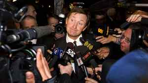 Wayne Gretzky attended Monday night's induction ceremony and was surrounded by reporters wanting to get the Great One's reaction to the NHL's purchase of the bankrupt Phoenix Coyotes.