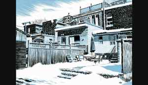 Graphic novel illustrator Michael Cho new book, Back Alleys and Urban Landscapes Guy Dixon story for Globe Toronto section