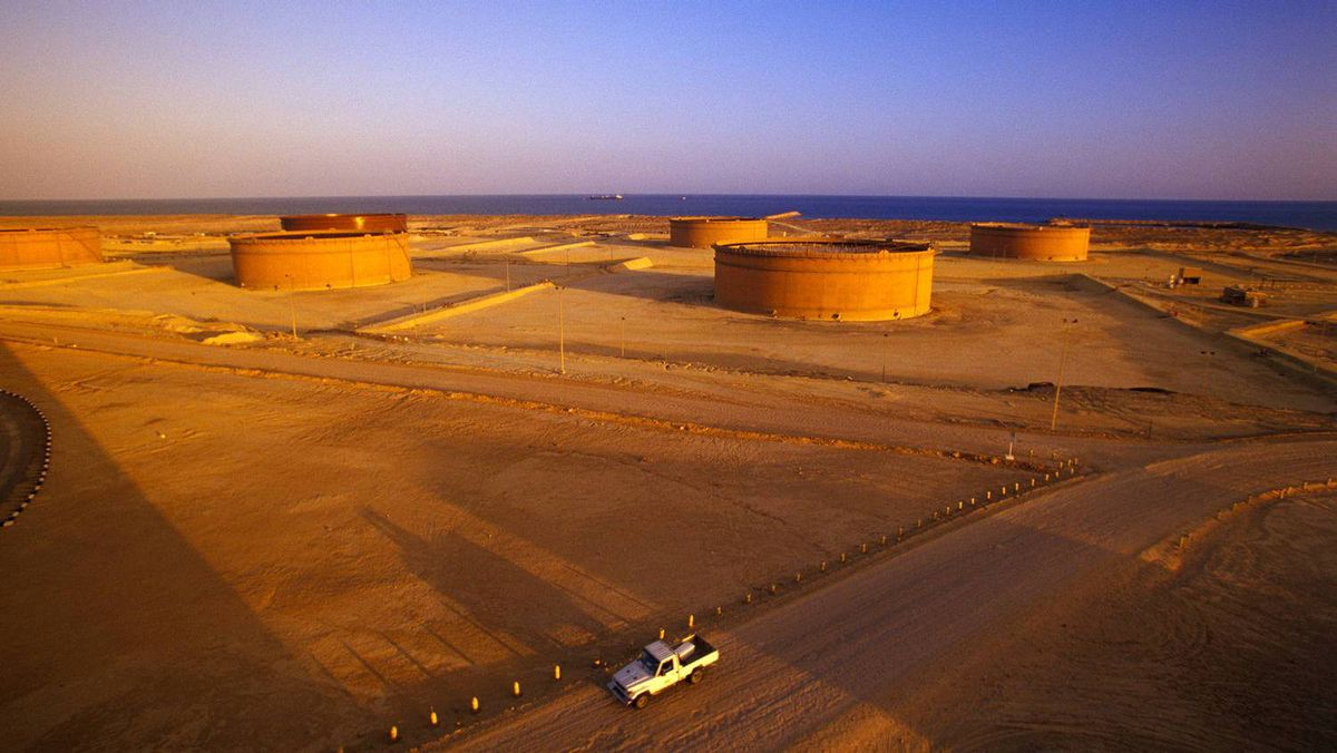 Nexen storage tanks on the Gulf of Aden in Yemen