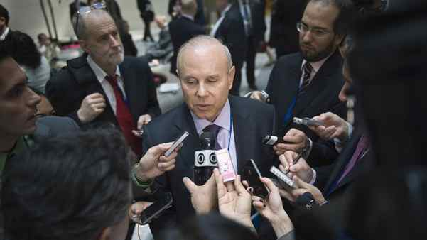 Brazilian Finance Minister Guido Mantega speaks to reporters after the International Monetary and Financial Committee meeting in Washington on Saturday.