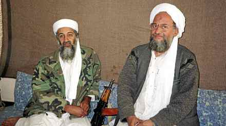Osama bin Laden (L) sits with his adviser and purported successor Ayman al-Zawahri, an Egyptian linked to the al-Qaeda network, during an interview with Pakistani journalist Hamid Mir (not pictured) in a file image supplied by the Dawn Newspaper on November 10, 2001.