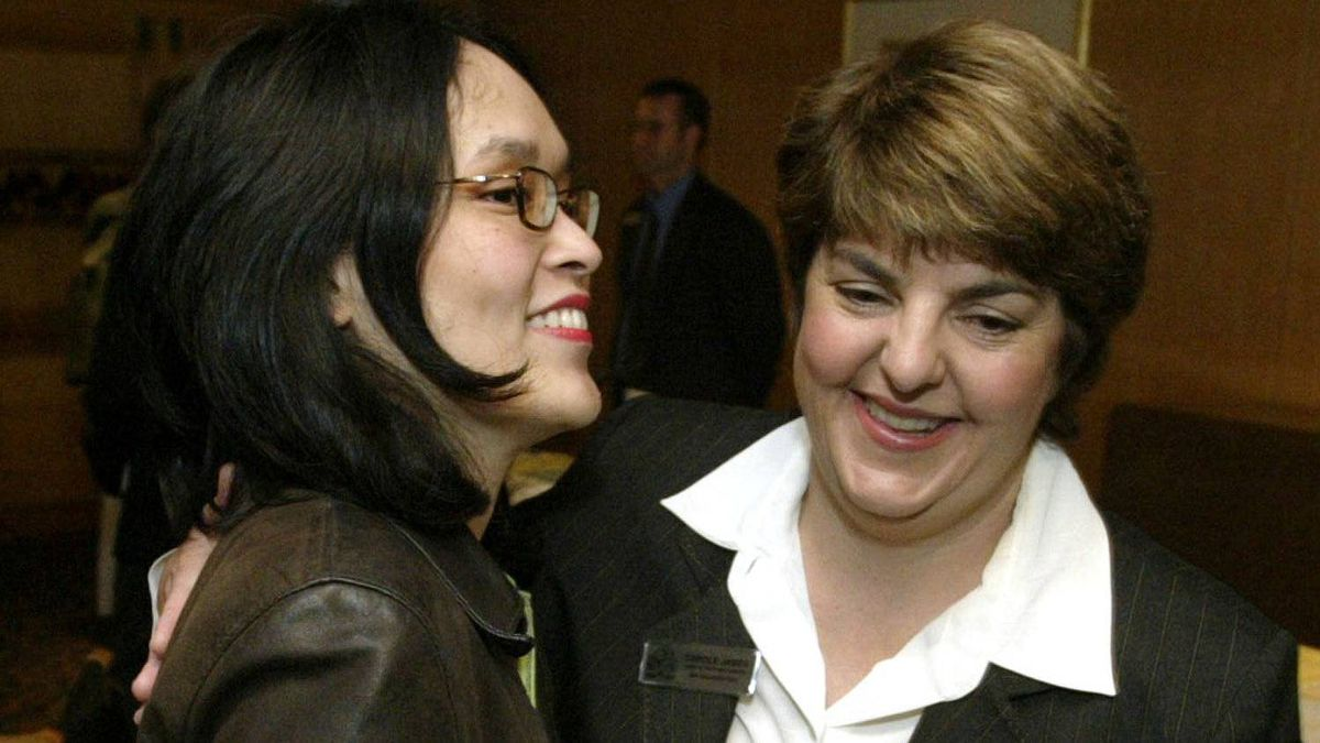 NDP MLA Jenny Kwan and NDP leader Carole James before outlining the party's economic vision to Vancouver Board of Trade in Vancouver April 12, 2005.