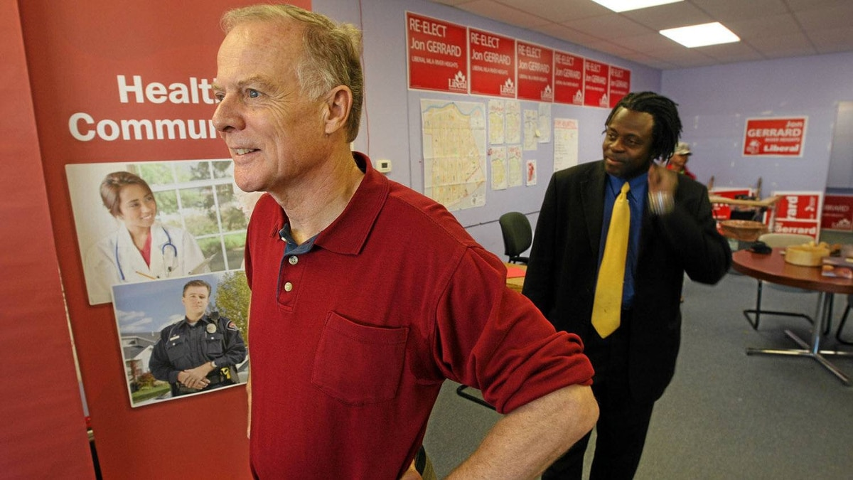 Manitoba Liberal Leader Dr. Jon Gerrard maskes an announcement at his campaign office in Winnipeg on Sept. 25, 2011.