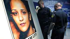 Peel Police leave a press conference where they announced that the remains of Poonam LITT, who had gone missing in 2009, were discovered in Caledon, during a news conference in Brampton, April 12, 2012.
