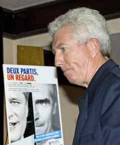 Gilles Duceppe unveils a pre-election ad campaign after a Bloc Quebecois caucus meeting on Sept. 8, 2009. The ad suggests Stephen Harper and Michael Ignatieff are one in the same when it comes to Quebec.