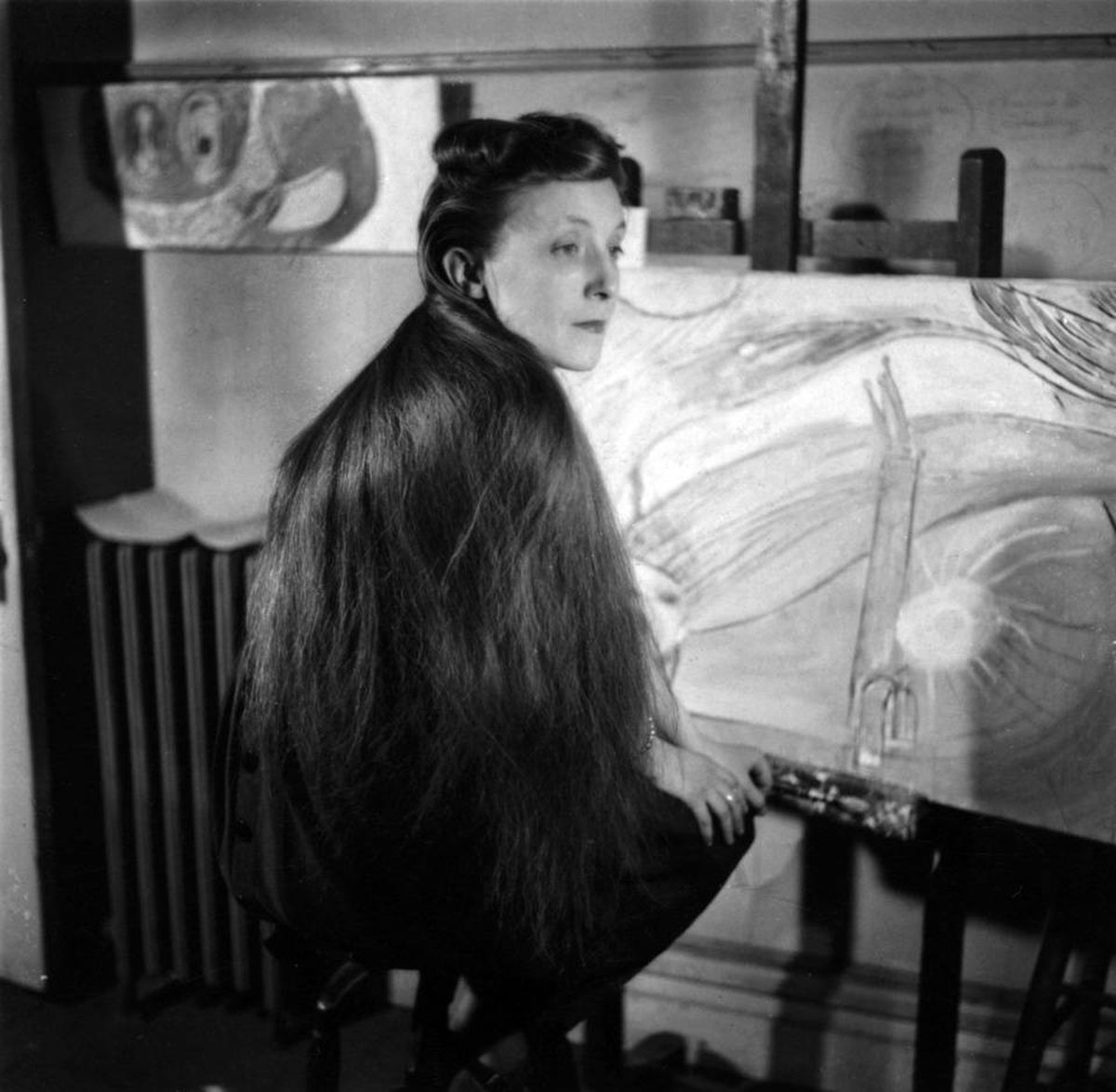 Louise Bourgeois is seen in her studio circa 1946.