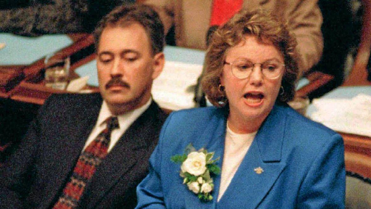 Finance Minister Elizabeth Cull delivers the budget speech in the Legislature in Victoria in 1996.