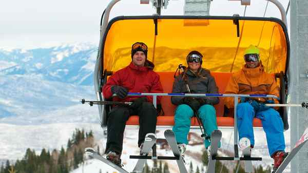Stay warm on your way up the hill in the new heated chairlift at Canyons Resort in Utah.