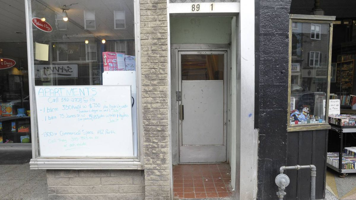June 26, 2011. The front doorway, number 89, of Donna. Bertrand's downtown Brockville apartment where Ms. Bertrand and Dustin King were found dead within days of each other with lethal amounts of prescription pills in their bloodstreams.