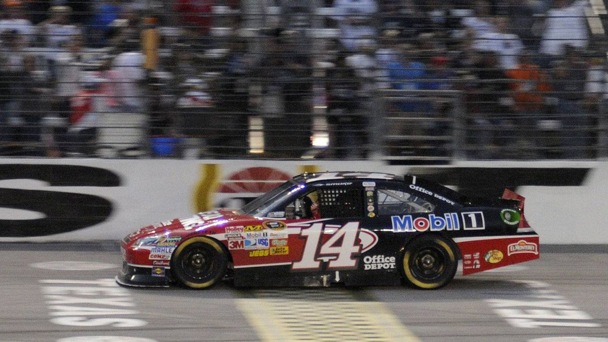 Tony Stewart wins the NASCAR Sprint Cup Series auto race at Texas Motor Speedway in Fort Worth, Tex., Nov. 6, 2011.