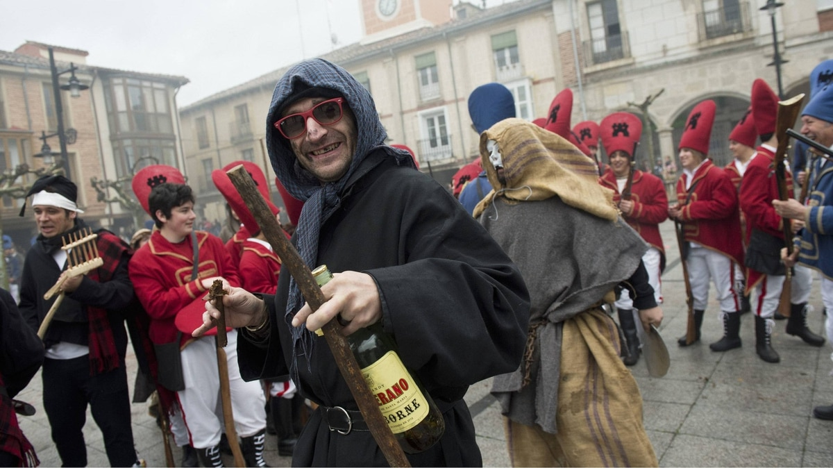 People in historical dress take part in the 'El Judas' festival in the village of Villadiego, northern Spain, on Saturday.