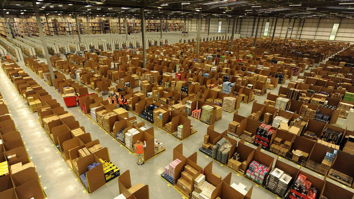 Work is carried out at Amazon's warehouse in Dunfermline, Scotland.