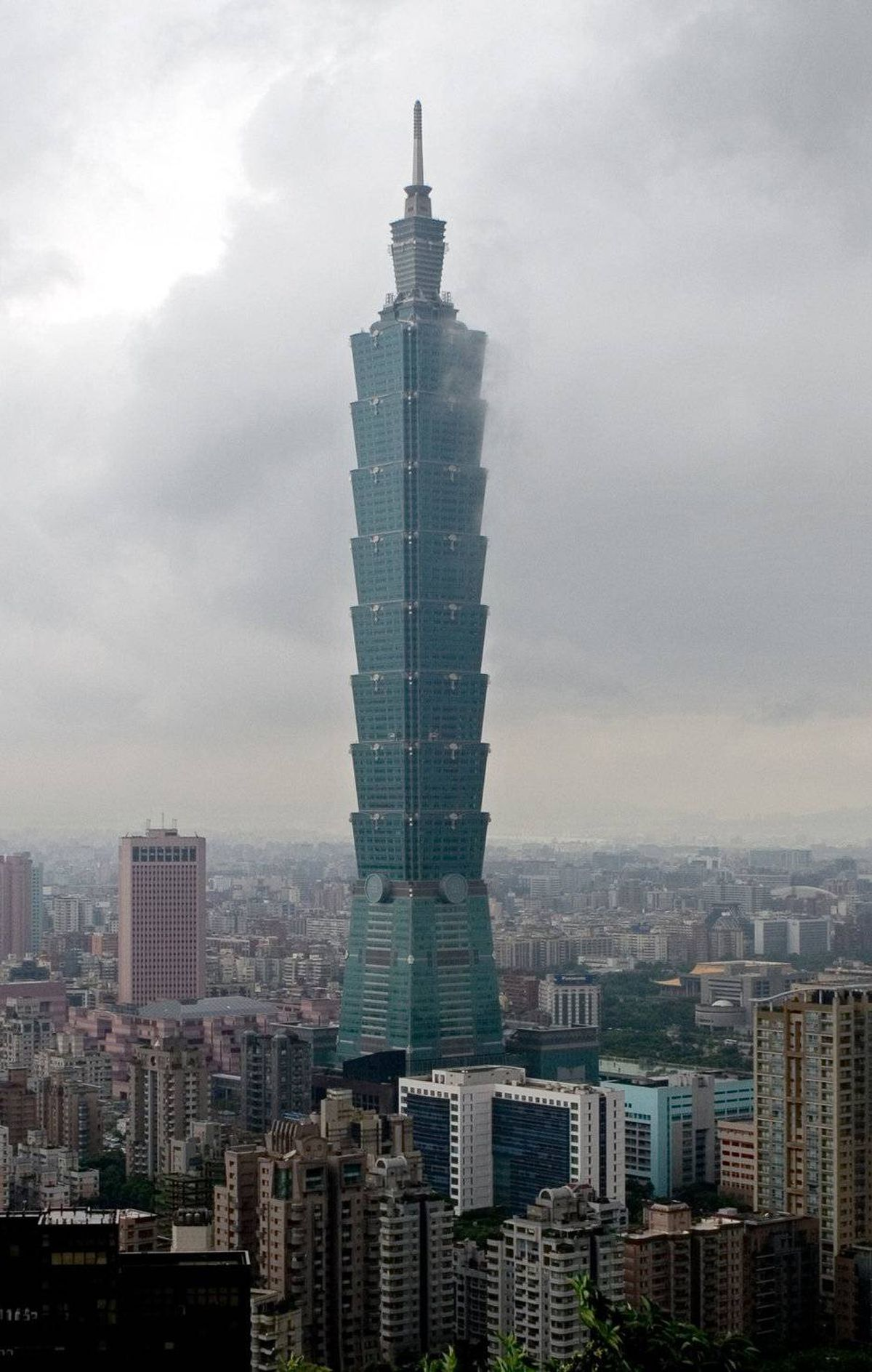 Clouds of rain brought by typhoon Saomai linger over the city Taipei 101, one of the world's tallest buildings on Aug. 10, 2006, in Taipei, Taiwan.