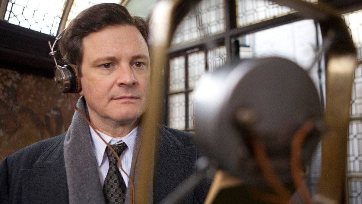 Colin Firth plays King George VI, who hired a speech therapist (Geoffrey Rush) to cure his stammer, in The King's Speech.