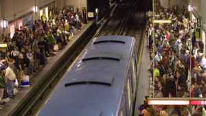 Commuters crowd the Montreal's Berri-UQAM subway station.