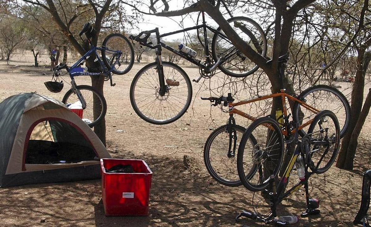 Harsh conditions on the Tour d'Afrique calls for inovative ideas for bike storage.