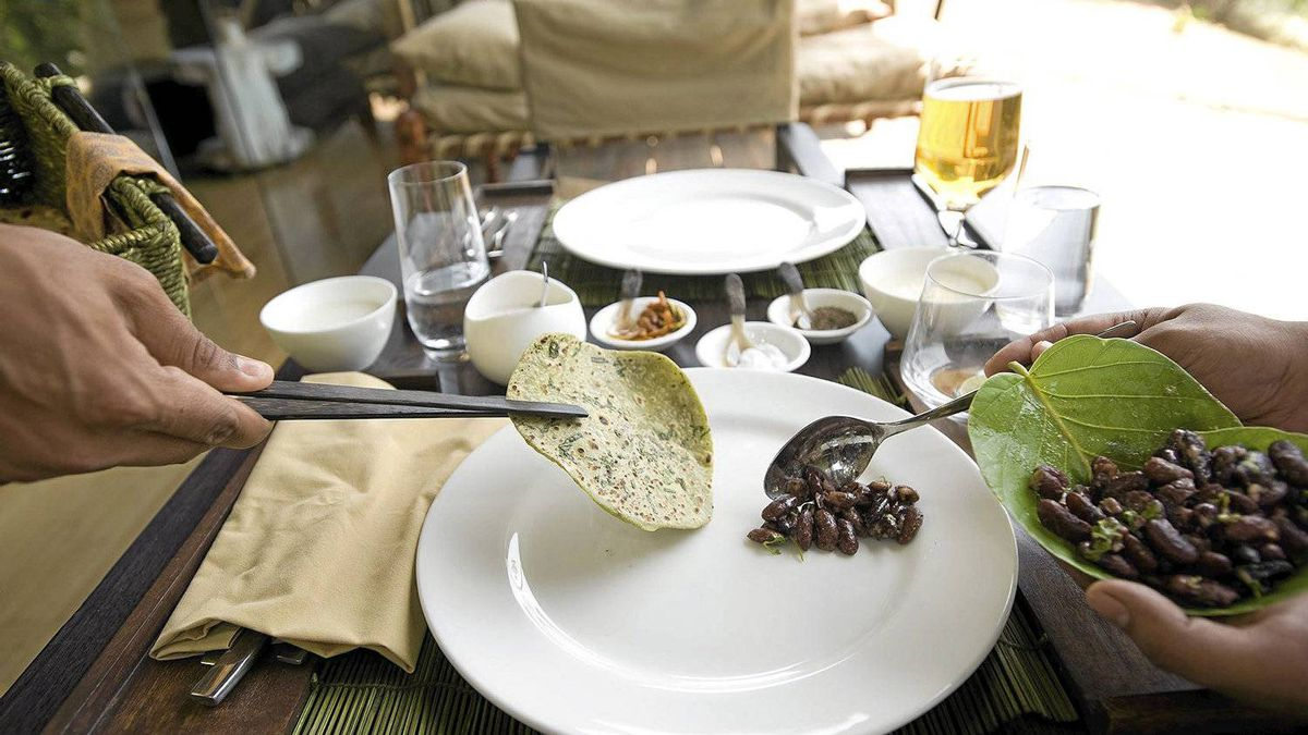 Enjoy traditional Indian fare at the luxury tented camp Banjaar Tola, then watch jungle life pass by on the Banjaar River.