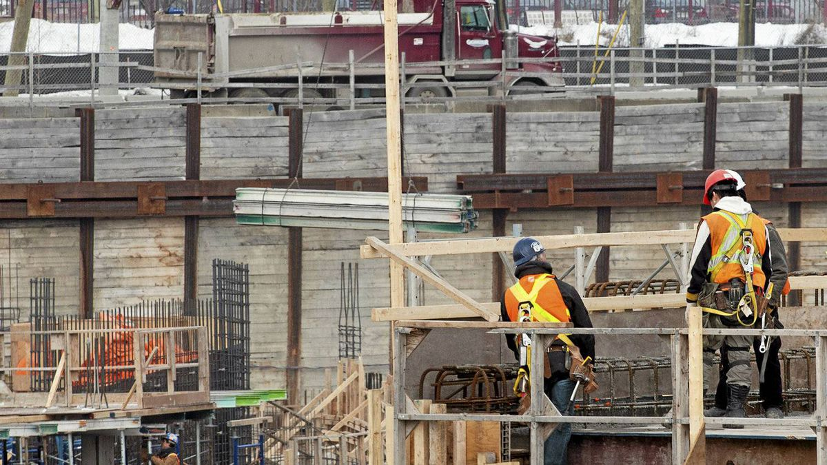 Workers at a construction site in Montreal, Feb. 14, 2012. The last jobs report showing an 82,300 employment gain was the biggest bump since the onset of the recession and the fourth-largest increase ever. Most economists are skeptical about both the outsized gain and the job market's weakness in previous months.