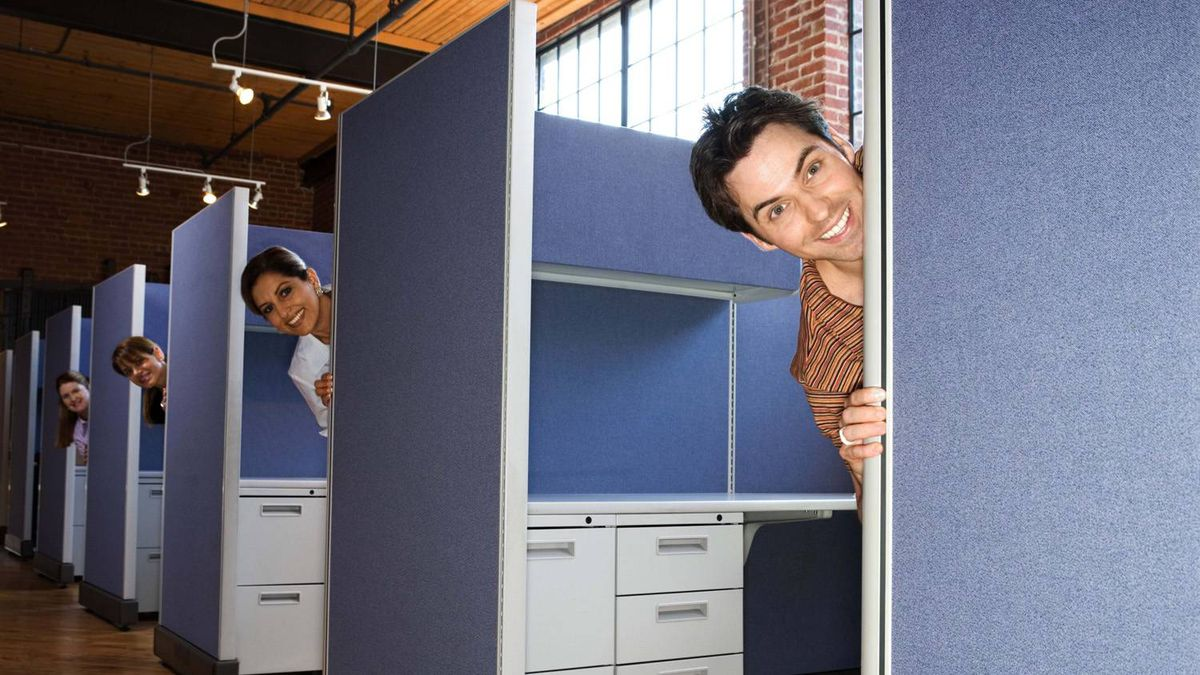 Office workers peeking out of cubicles