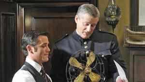Prime Minister Stepher Harper (standing) guests on City-TV's Murdoch Mysteries with star Yannick Bisson.