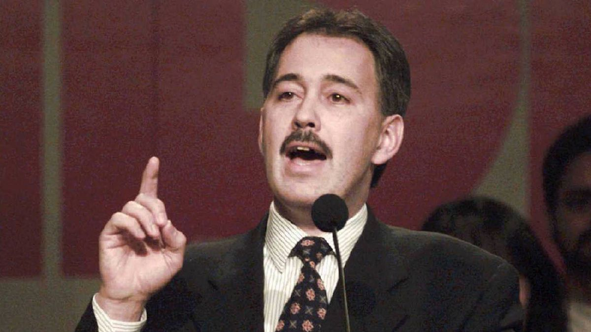Glen Clark addresses the crowd at his party's policy convention in Vancouver, Mar.1 1997.