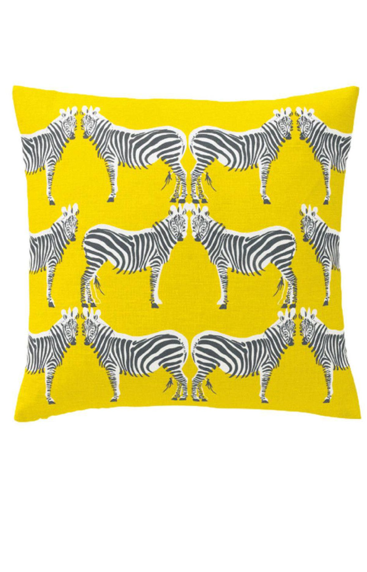 Classic zebra print gets updated in bold yellow … and with actual zebras! Dwell zebra pillow in Citrine, $72 through www.dwell.com.