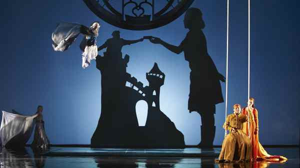 Russell Braun as Jaufr (left, on swing) in the Canadian Opera Company production of Love from Afar, 2012.