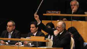 Syrian representative Bashar Ja'afari raises an objection during a meeting of the United Nations General Assembly to discuss the human rights situation in Syria, at UN headquarters in New York on Feb. 13, 2012.
