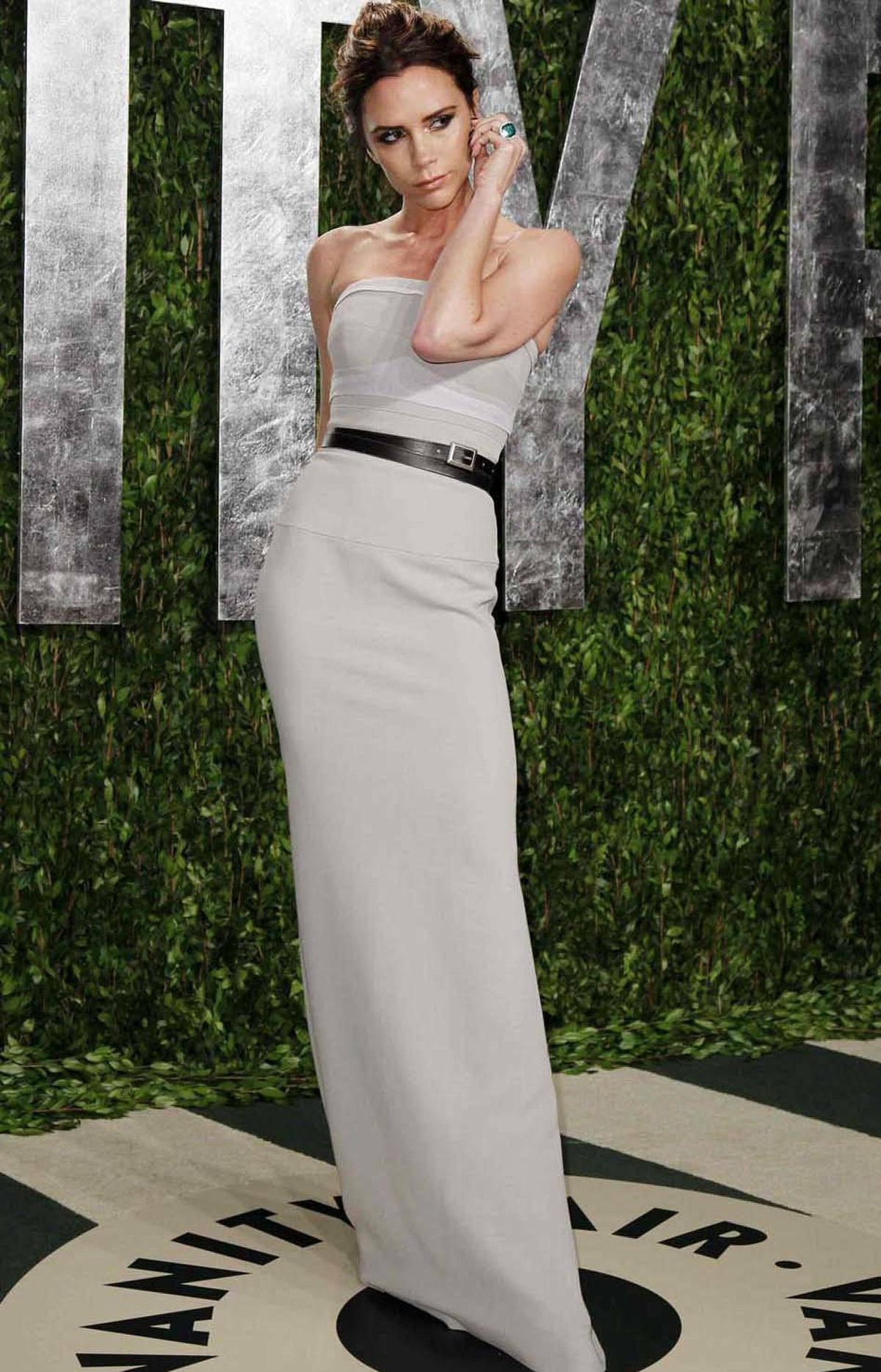 Victoria Beckham wears a silly expression at the Vanity Fair Oscar party in West Hollywood on Sunday.