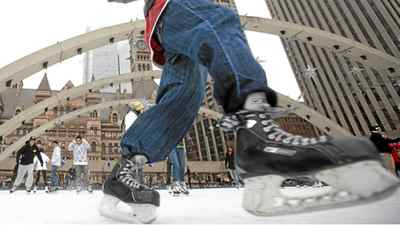 Skaters take to the ice at Nathan Phillips Square in Toronto Tuesday, January 4, 2011.