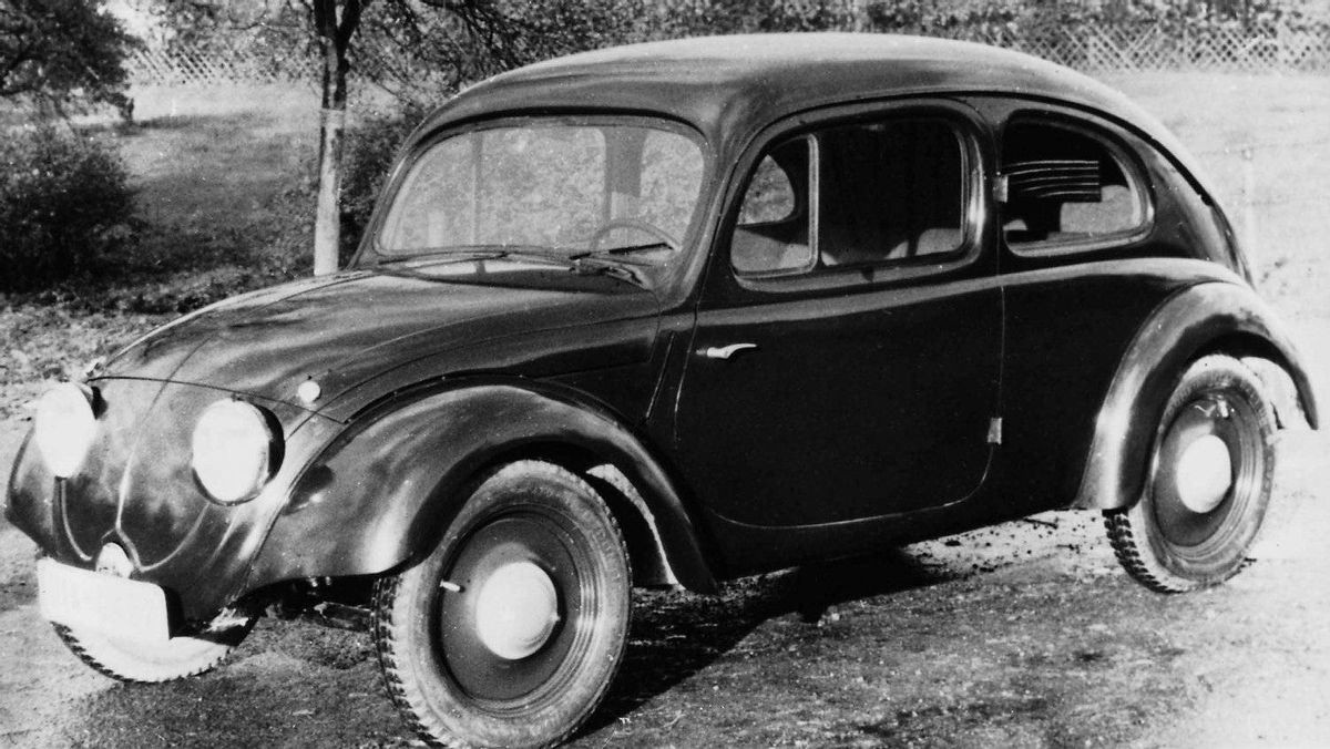 The Volkswagen was commissioned by Adolf Hitler to provide low-cost transportation for the masses. A 1935 V-series prototype hints at the final shape of the car that would go on to become the best-selling vehicle in history.