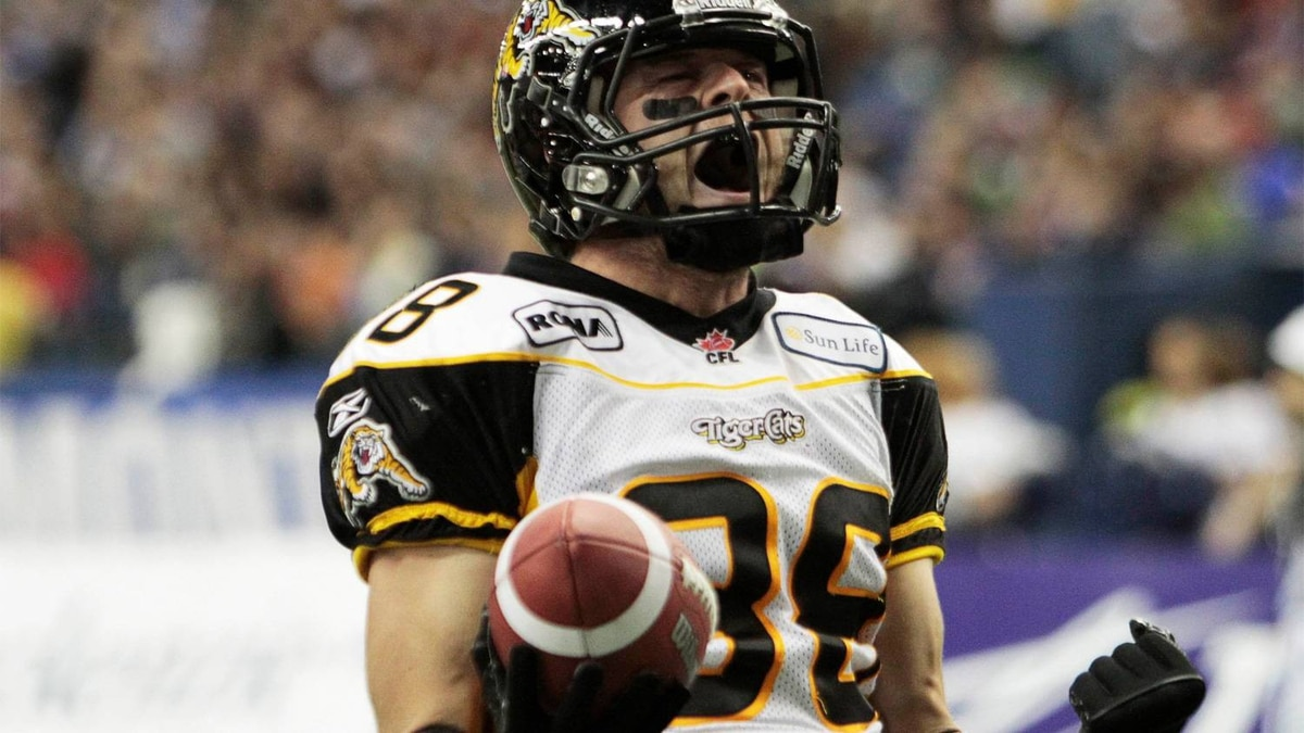 Hamilton Tiger-Cats' wide receiver Dave Stala celebrates his touchdown against Montreal Alouettes during the first half of their CFL Eastern semi-final football game in Montreal, November 13, 2011.