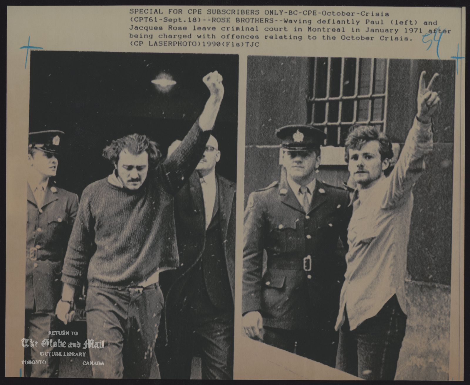 The notes transcribed from the back of this photograph are as follows: PAUL JACQUE ROSE QUEBEC. FLQ MEMBERS SPECIAL FOR CPE SUBSCRIBERS ONLY-BC-CPE-October-Cr1sis(CPT61 -Sept.18)--ROSE BROTHERS--Waving defiantly Paul (left) and Jacques Rose leave criminal court in Montreal In January 1971 after being charged with offences relating to the October Crisis. (CP LASERPHOTO)1990(F1s)TJC