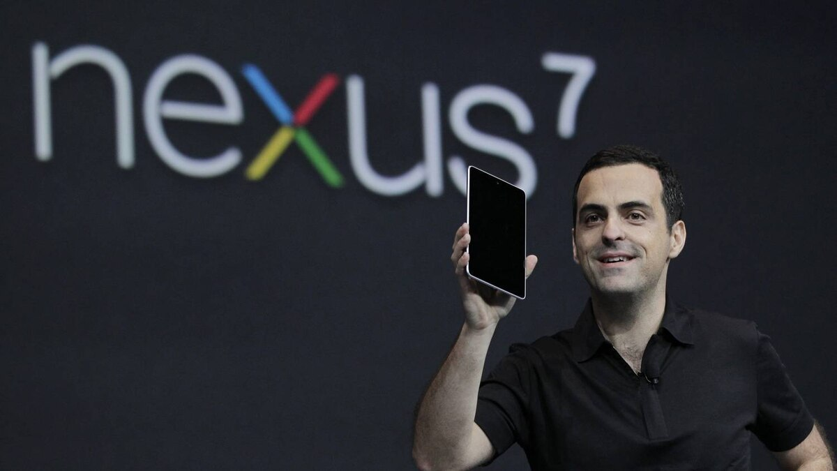 Hugo Barra, Director of Google Product Management, holds up the new Google Nexus7 tablet at the Google I/O conference in San Francisco, Wednesday, June 27, 2012.