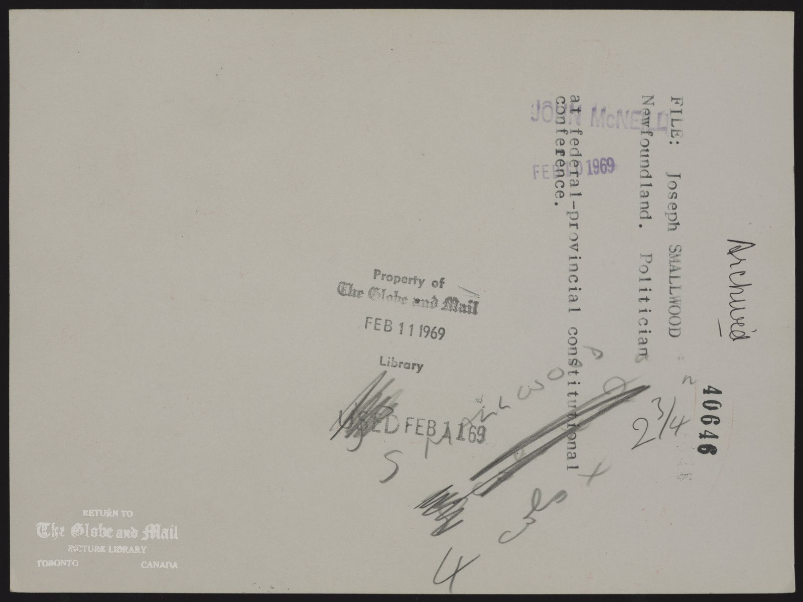The notes written and typed on the back of this photograph, from the time it was printed, are as follows: Joseph SMALLWOOD Newfoundland. Politician Premier Smallwood at federal-provincial constitutional conference.February 10, 1969,JOHN McNEILL