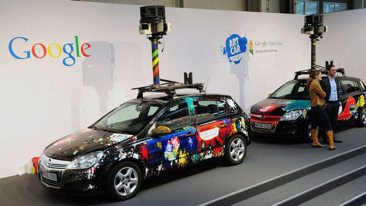Cars equiped with special cameras, used to photograph whole streets, can be seen on the Google street view stand at the world's biggest high-tech fair, the CeBIT on March 3, 2010 in the northern German city of Hanover.