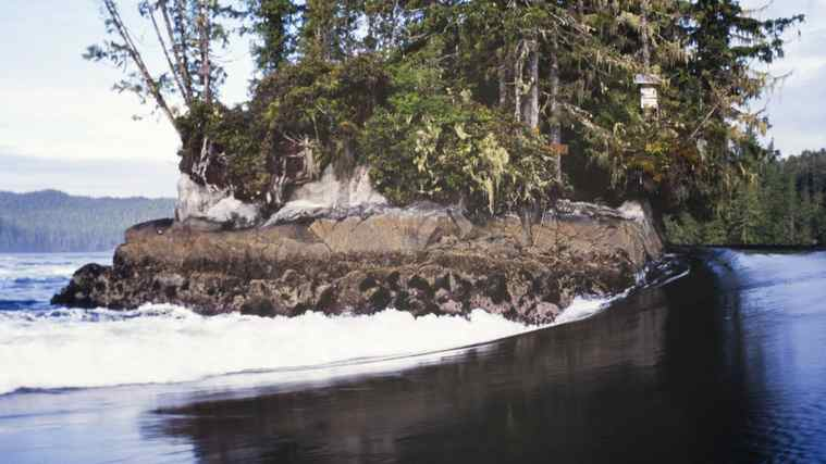 Tremble Island in B.C.'s north coast when the tides are running.