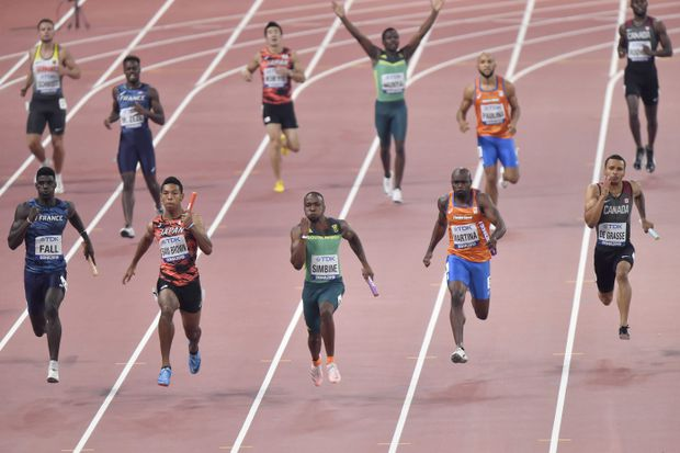 Canadian 4x100 men's relay team eliminated at world track and field championships